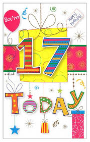 you re 17 today happy birthday greeting card