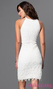 fitted dresses knee length white lace dress promgirl