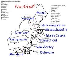 northeast united states map with states and capitals northeast us region research social studies social