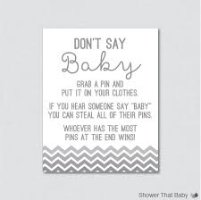 don u0027t say baby baby shower game in gray ombre chevron