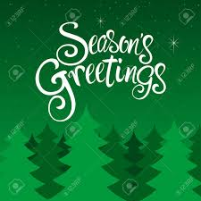 Text Season s Greetings With Decorative Pine Trees For