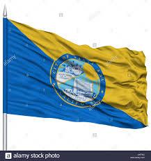 California State Flag Santa Ana City Flag On Flagpole California State Flying In The