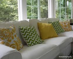 close up of new pillows on sofa 7 11 hooked on houses