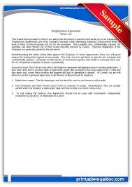 10 Contractor Non Compete Agreement Free Printable Employment Agreement Form Generic