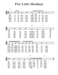 The Night The Bed Fell Free Sheet Music Free Lead Sheet Five Little Monkeys Jumping