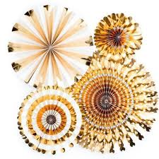 decorative fans decorative party fans gold pk4