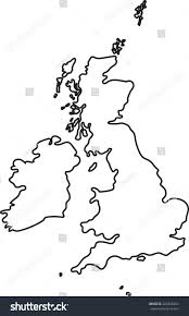 Blank Map Britain by Doodle Freehand Outline Sketch Great Britain Stock Vector