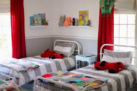 appealing red window curtains near white metal twin bed for boys