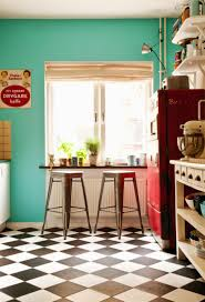 Kitchen Floor Design Teal And Red Kitchen Black And White Checkered Floor Home