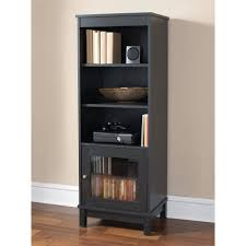 black bookshelf with cabinet mainstays media storage bookcase multiple finishes walmart com