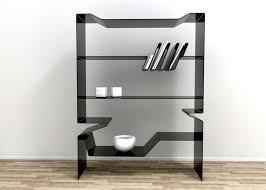 furniture stylish black acrylic bookcase design with three