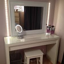 White Wooden Table Surface Glass Top Makeup Table Vanity With White Wooden Bench Of Adorable