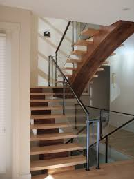 mono stringer maple and walnut contemporary staircase