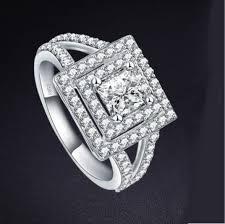 asscher cut diamond engagement rings 925 silver sterling asscher cut royal halo diamond engagement ring