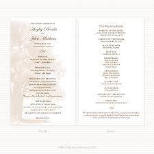 Sample Wedding Program Oak Tree Wedding Program Sample Paperwhites Wedding Invitations
