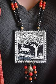 necklace story images Pattachitra wood necklace with square pendant and tree of life jpg