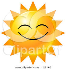clipart illustration of a yellow emoticon displayed as the sun