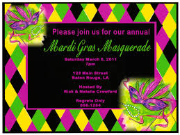 Party Invitation Card Template Appealing Mardi Gras Masquerade Invitation Card Template With