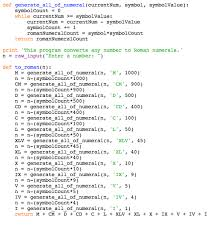 roamn numeral python basic program to convert integer to numerals