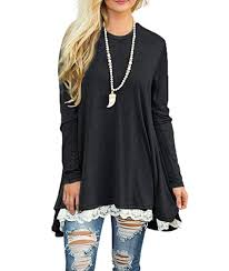 gray blouse sanifer lace sleeve tunic top blouse at amazon s