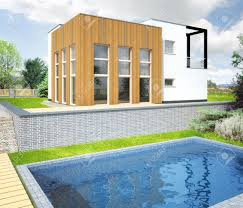 architectural vizualization of a new modern house with a garden