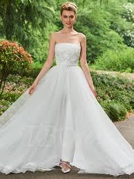 wedding dress jumpsuit strapless lace top bridal jumpsuit with tbdress
