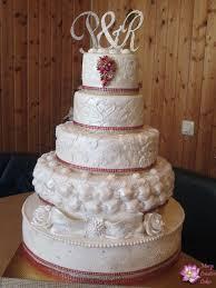 red white bling bling wedding cake cake by mary yogeswaran