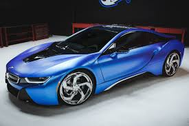 matte bmw i8 of matte blue bmw i8 and i3 on lexani wheels