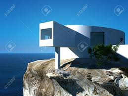 High Tech Houses by Modern Design Villa On The Sea Exterior Architecture Stock Photo