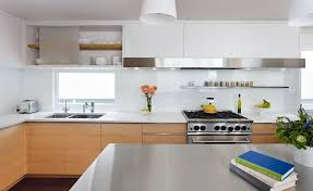 tempered glass backsplash kitchen contemporary with waterfall