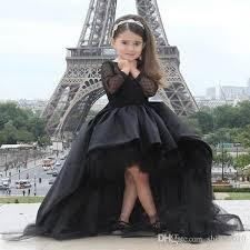 cute jewel long sleeve flower dresses high low pageant