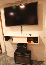 Bedroom Wall Storage With Tv White Floating Shelf Under Tv And Storage Console Decofurnish