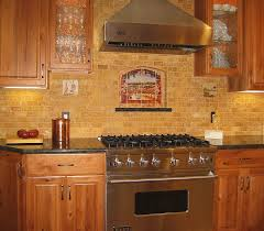 kitchen yellow brown mosaic looks like brick tiles with oak