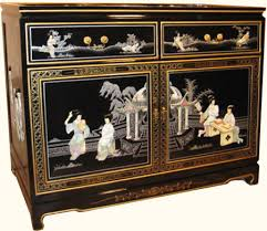 Black Buffet Server by Oriental Buffet Server Inlaid With Mother Of Pearl And Shinny