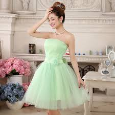 lime green bridesmaid dresses short prom ball gown knee length
