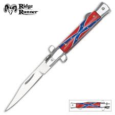 Flag Folding Stiletto Switchblade Knife True Swords