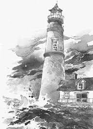 drawn lighthouse old lighthouse pencil and in color drawn