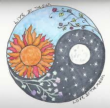 sun moon ying yang with morning and moon glow flowers this