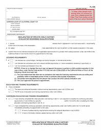 Job Resume For Hotel by Fl 326 Declaration Of Private Child Custody Evaluator Pinkham Law