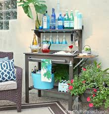 Bench For Balcony Potting Bench Turned Outdoor Bar