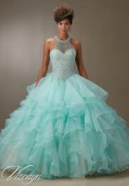 mint quinceanera dresses ruffled organza skirt with pearl beaded bodice quinceanera dress