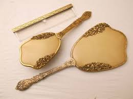 3 Piece Vanity Set Vintage 24k Gold Plated 3 Piece Vanity Set Sold On Ruby Lane