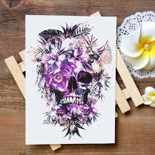 waterproof temporary tattoos stickers purple flowers skull
