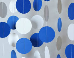 blue and white garland birthday decorations fathers day