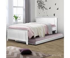 Single Bed Frame With Trundle Wooden Bed Frame Trundle King Single Evopia