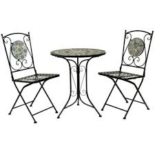 Tesco Bistro Chairs Buy Bentley Garden 2 Seater Wrought Iron Blue Mosaic Bistro Set