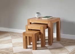 Light Oak Furniture Milano Oak Nest Of 3 Tables Oak Furniture Solutions