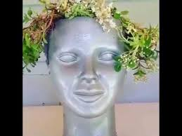 Large Head Planters Diy Succlent Hair Head Planter Youtube