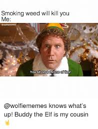 Buddy The Elf Meme - smoking weed will kill you me sit on athr of you ne lies knows