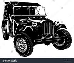 army jeep vector hidetailed silhouette army jeep isolated stock vector